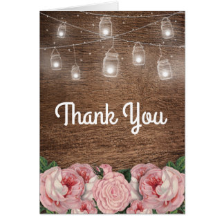 Mason Jar String Lights Pink Rose Bridal Thank You Card