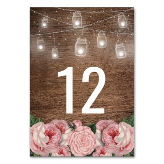 Mason Jar String Lights Pink Rose Wedding Table Table Number