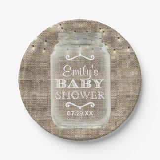 Mason Jar & String Lights Rustic Burlap Baby Showe Paper Plate