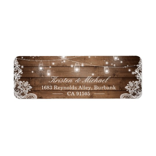 Mason Jar String Lights Rustic Country Wood Lace Return Address Label