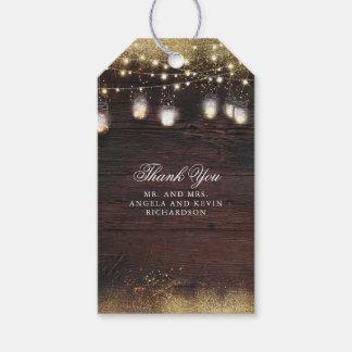 Mason Jar String Lights Rustic Wedding Gift Tags