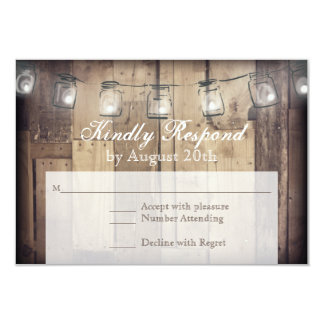 Mason Jar String Lights Rustic Wood Wedding RSVP Card