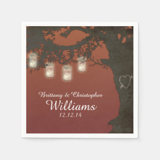 Mason Jar String Lights Tree Autumn Sunset Napkins Paper Napkin
