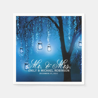 Mason jar string lights tree rustic wedding paper napkins