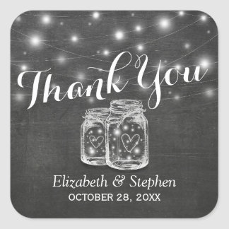 Mason Jar & String Lights Wedding Favor Thank You Square Sticker