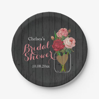 Mason Jar Stylish Rose Bridal Shower Design Paper Plate