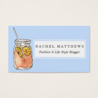 Mason Jar Summer Sun Ice Tea in Watercolor Business Card