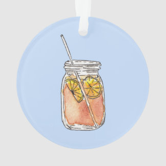 Mason Jar Summer Sun Ice Tea in Watercolor Ornament