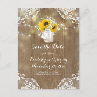 Mason Jar Sunflowers Bouquet Rustic Save the Date Announcement Postcard
