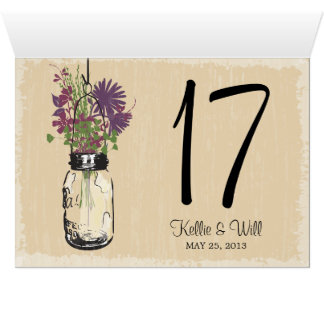 Mason Jar Table Number Cards DOUBLE SIDED
