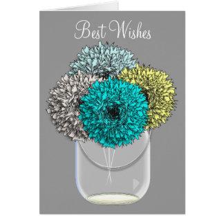 Mason Jar Vase Of Pom Pom Carnation Flowers Card