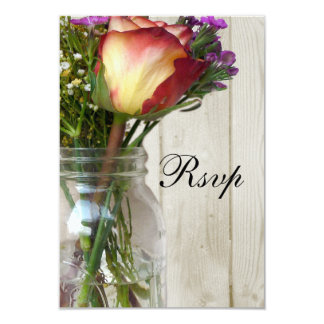 Mason Jar w/Rose and Wildflowers Card