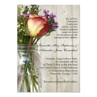 Mason Jar w/Rose Photographic Wedding Ceremony Card