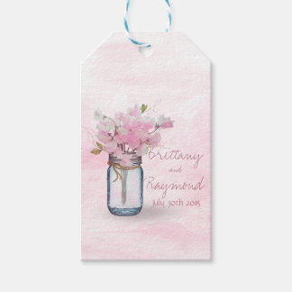 MASON JAR WATERCOLOR PINK SWEET PEAS GIFT TAGS