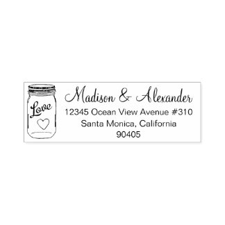 Mason Jar Wedding Address Stamp, Self Inking Stamp