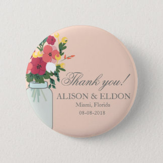 Mason Jar Wedding Invitation – Pastel Apricot 2 Inch Round Button