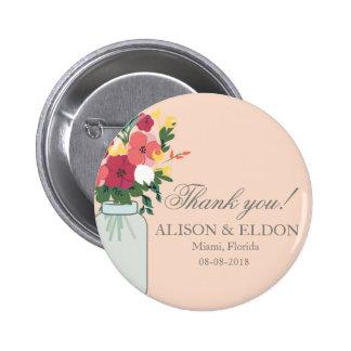 Mason Jar Wedding Invitation – Pastel Apricot 2 Inch Round Button