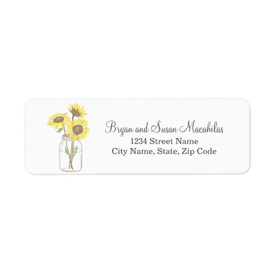 Mason Jar Wedding Return Address Label