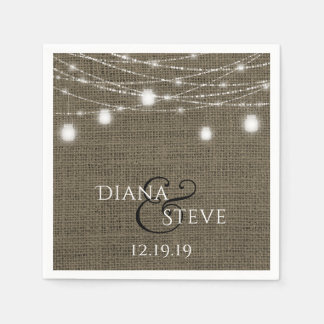 Mason Jar Wedding Rustic Country Burlap Paper Napkin