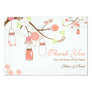 "Mason Jar Wedding Thank You Card- Coral and White 3.5"" X 5"" Invitation Card"