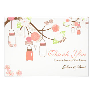 Mason Jar Wedding Thank You Card- Coral and White