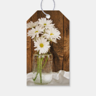 Mason Jar White Daisies Country Wedding Favor Tags