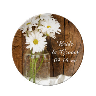 Mason Jar White Daisies Country Wedding Keepsake Plate