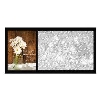 Mason Jar White Daisies Quinceañera Save the Date Card