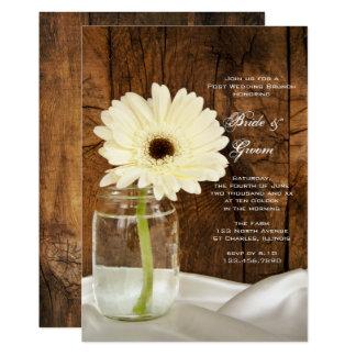 "Mason Jar White Daisy Country Post Wedding Brunch 5"" X 7"" Invitation Card"