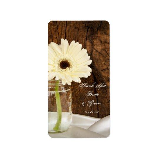 Mason Jar White Daisy Country Wedding Thank You Label