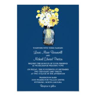 Mason Jar Wild Daisies Sunflowers & Billy Balls Custom Invitations