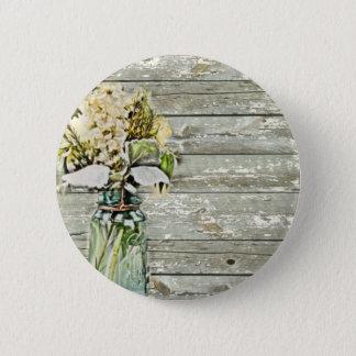Mason jar wildflower barn wood french country 2 inch round button