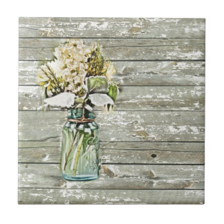 Mason jar wildflower barn wood french country ceramic tile