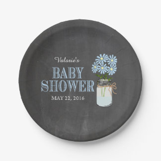 Mason Jar with Flowers Vintage Blue Typography 7 Inch Paper Plate