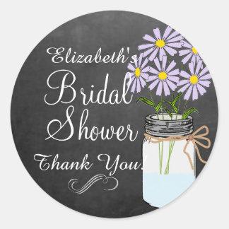 Mason Jar with Lavender Flowers Bridal Shower Round Sticker