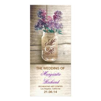 mason jar with lilacs rustic wedding programs