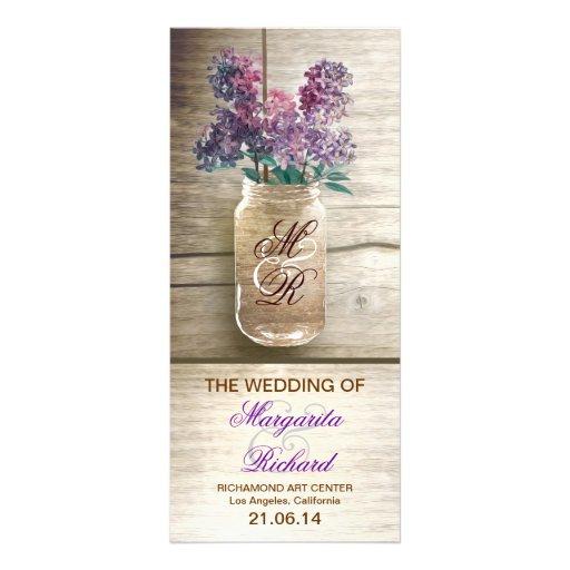 mason jar with lilacs rustic wedding programs rack card template