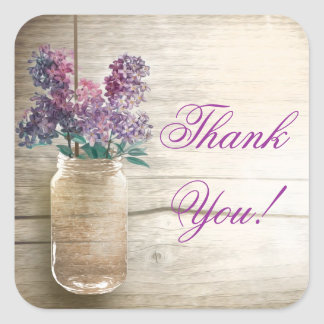 mason jar with lilacs thank you stickers