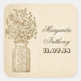 mason jar with wildflowers drawing stickers