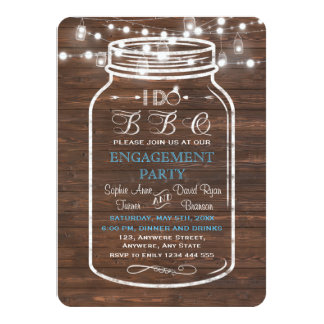 Mason Jar Wood String Lights I DO BBQ Engagement Card