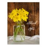 Mason Jar Yellow Daisies Country Wedding Thank You Postcards
