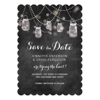 Mason Jars and Fire Flies Save the Date Cards