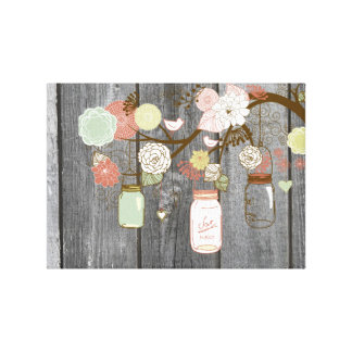 Mason Jars and Flowers Canvas Print