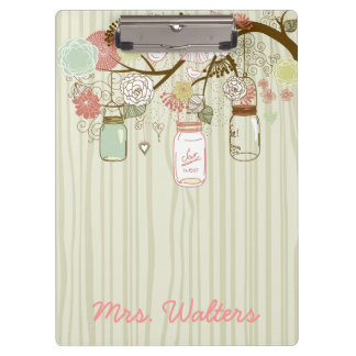 Mason Jars and Flowers with wood background Clipboard