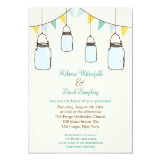 "Mason Jars Country Theme Wedding Invitation 5"" X 7"" Invitation Card"
