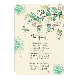 Mason Jars Garden Wedding Reception Programm Card