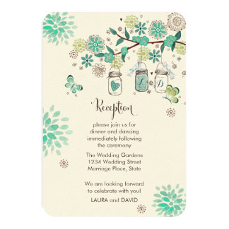 "Mason Jars Garden Wedding Reception Programm Card 3.5"" X 5"" Invitation Card"