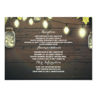 Mason Jars Lights Fall Wedding Guest Information Card