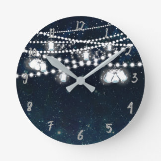 Mason Jars & Lights Night Evening Starry Sky Round Clock