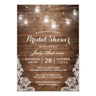 "Mason Jars Lights Rustic Wood Lace Bridal Shower 5"" X 7"" Invitation Card"